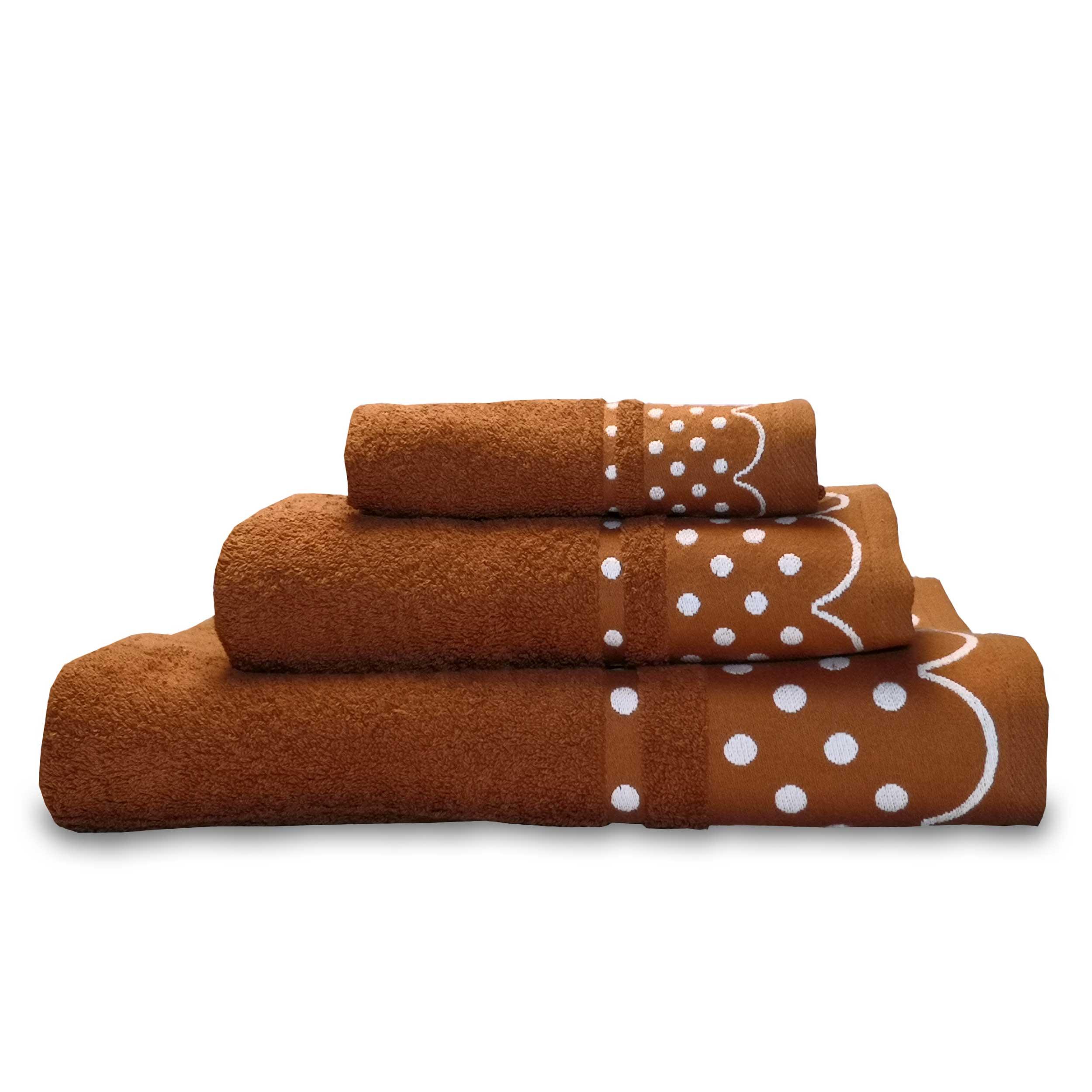 briebe Home Juego de Toallas Baño 100% algodón Rizo 450gr, Set 3 Piezas, Polka Dots, 3 tamaños Ducha Sábana, Manos, Tocador, Cenefa Lunares Bordada, Hecho en Portugal, marrón