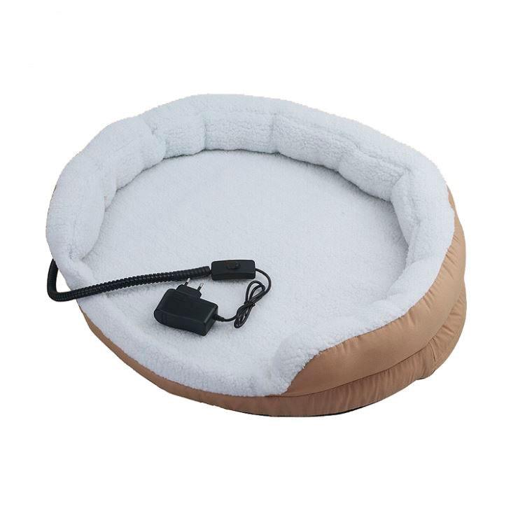 Briebe Pet Warner Cama para perros y gatos eléctrica calefactora redonda 61x12cm, calefación para mascotas, lana sintética suave, anti-mordida 15W