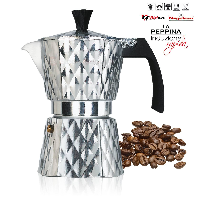 Magefesa PEPPINA - Cafetera Italiana de aluminio express, 3 tazas café, inducción, apta para todas las cocinas, color rojo, junta de cierre de silicona, válvula de seguridad