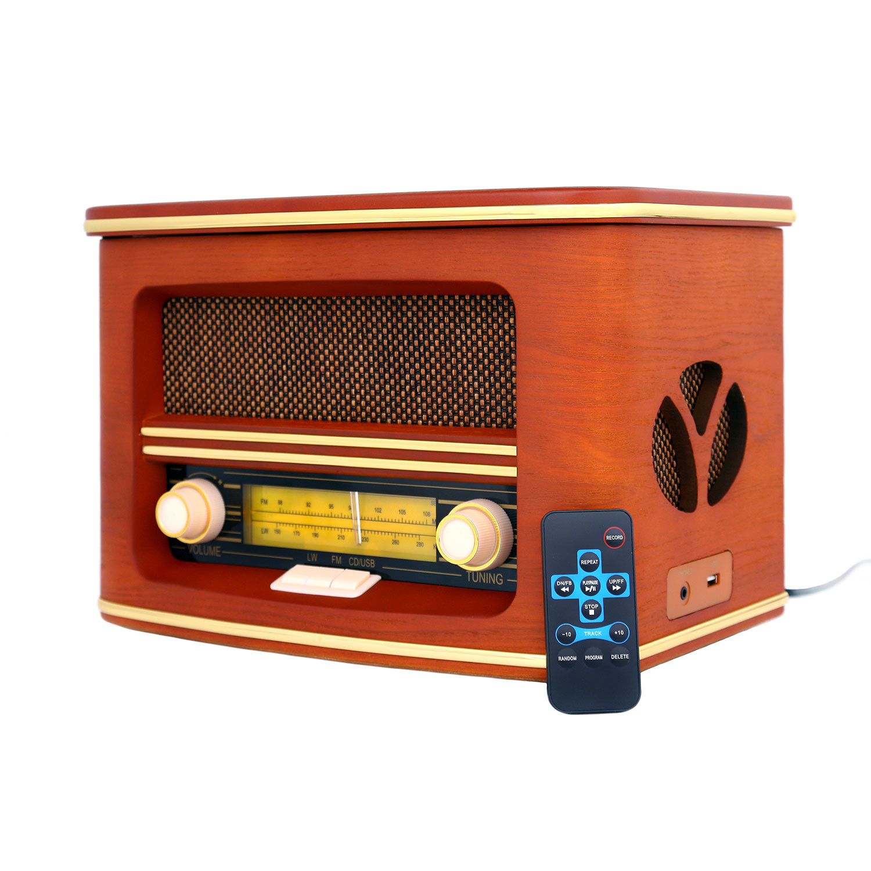 Camry CR1167 Radio CD Retro Estilo Vintage Antigua de Madera (FM - CD - MP3 - Bluetooth- Mando a distancia - Entrada Auriculares)