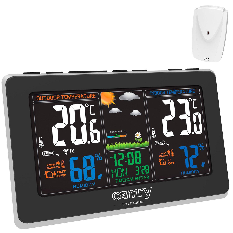 CAMRY CR1174 Estación Metereológica Temperatura y Humedad Interior y Exterior, Sensor Inalámbrico, Pronóstico de Tiempo, Indicador Fecha y Hora, Alarma