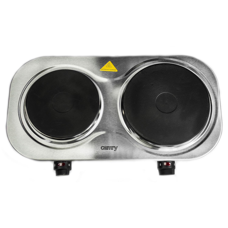 Camry CR6511 Hornillo eléctrico doble 2 placas de cocinado 18,5 cm y 15,5 cm, Regulador de Temperatura, Compacto, 1500 W y 1000 W