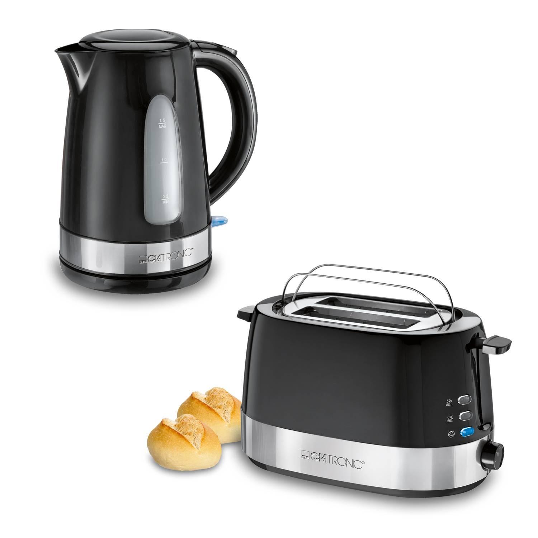 Clatronic Modern - Set desayuno, Tostadora 2 ranuras, Hervidor de Agua 1,5 l, negro y acero inoxidable