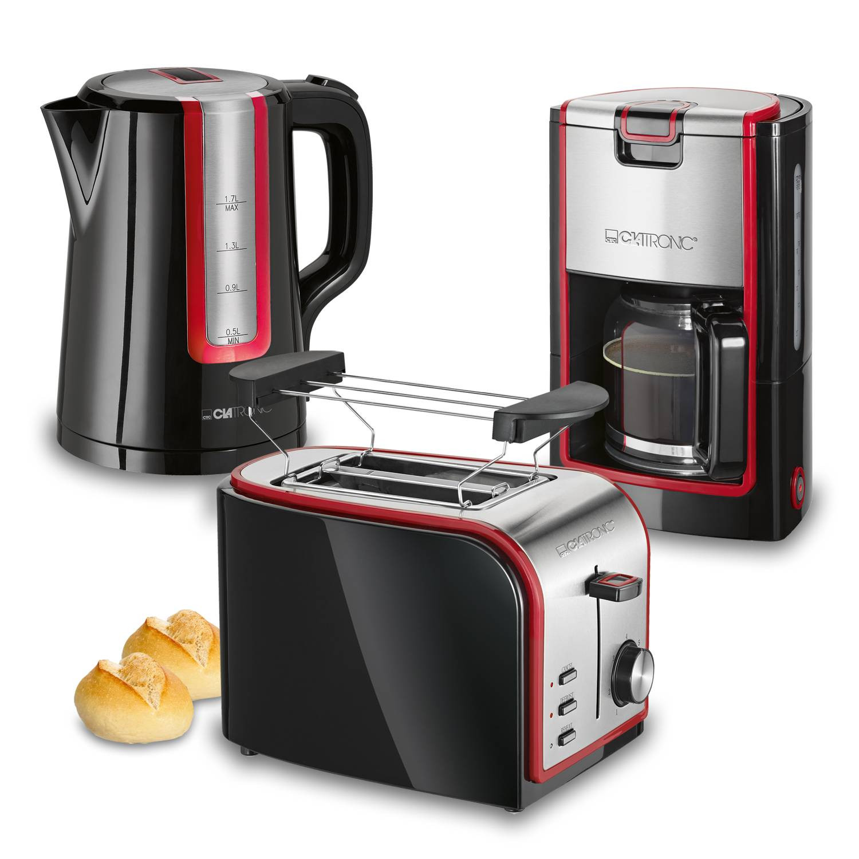Clatronic Retro - Set desayuno, Cafetera 8 a 10 tazas, Tostadora, Hervidor de Agua 1,7 l, negro y rojo