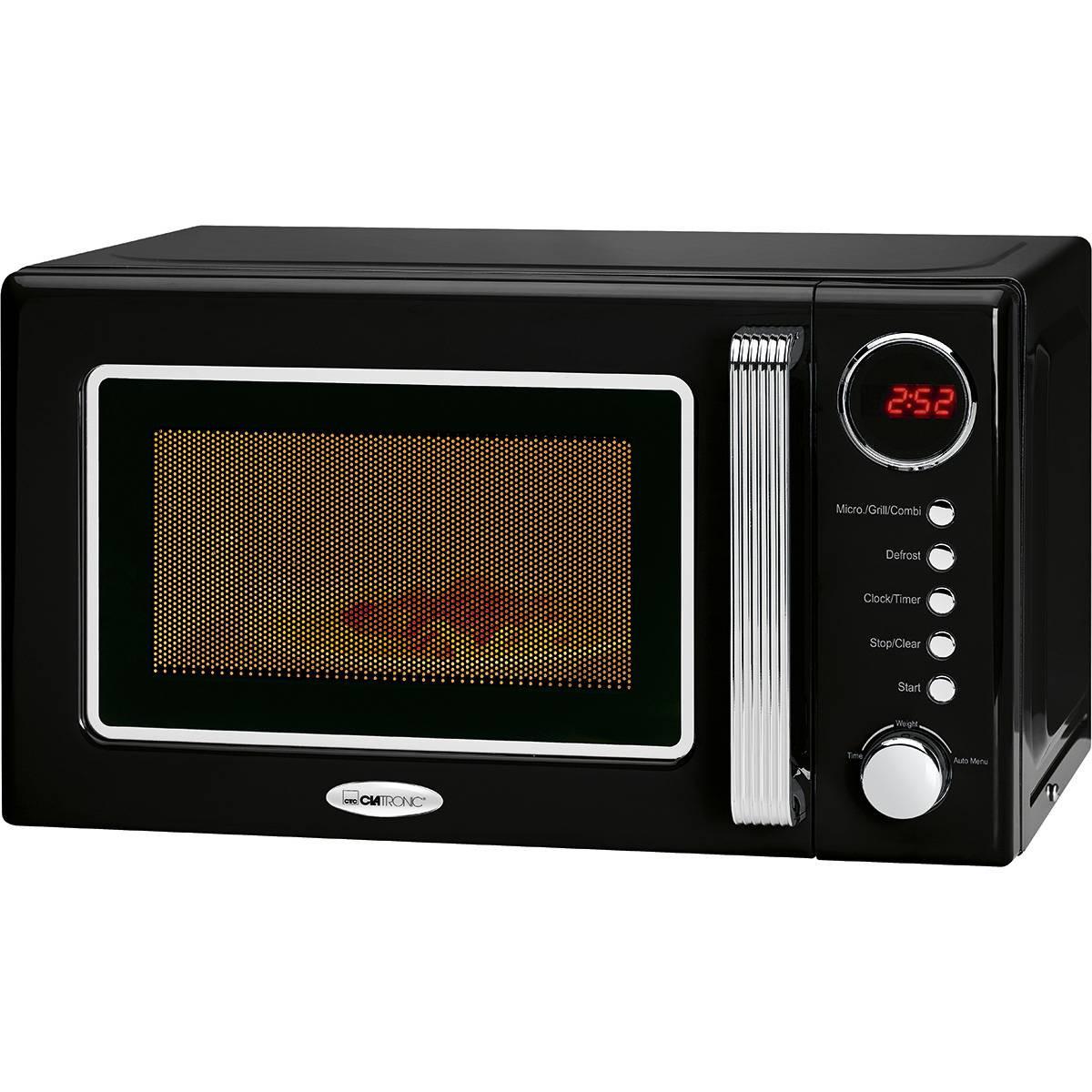 Clatronic MWG 790 - Microondas con grill retro 20 litros, 700/1000W, display digital, timer, color negro