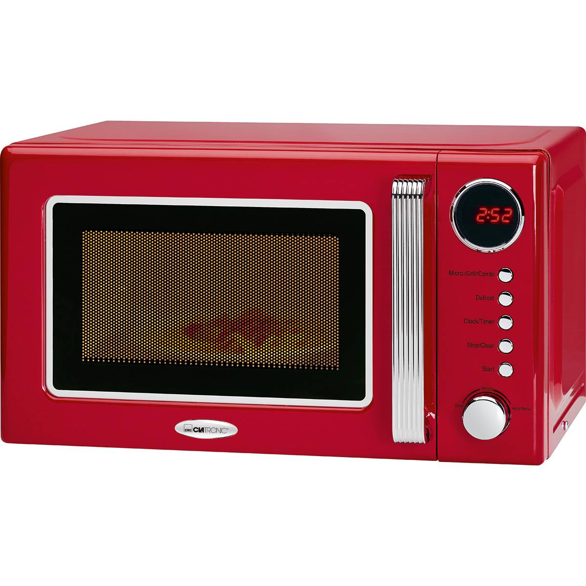 Clatronic MWG 790 - Microondas con grill retro 20 litros, 700/1000W, display digital, timer, color rojo