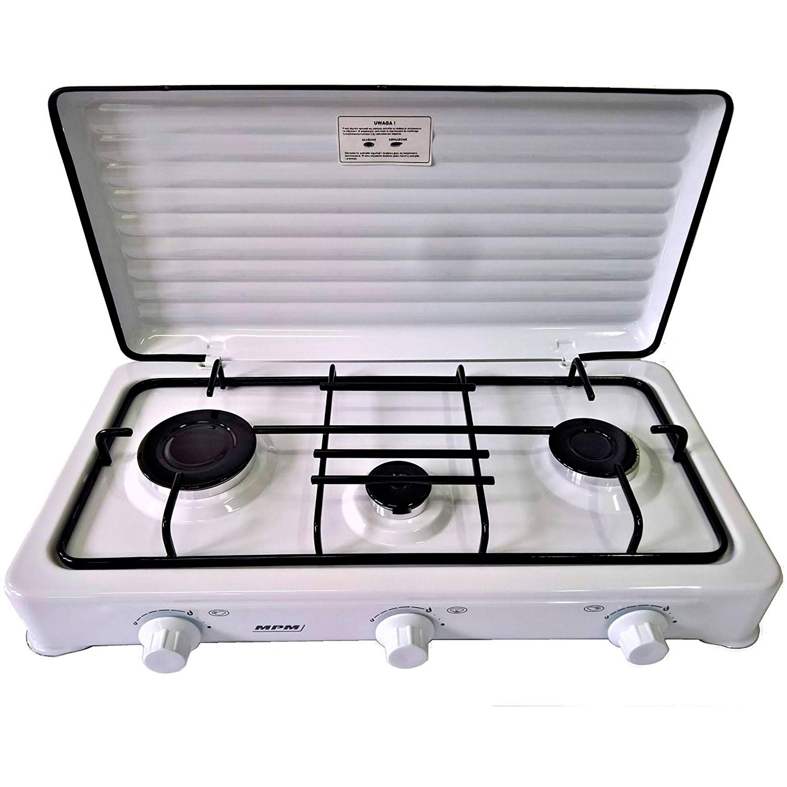 SMILE KN-03/1KB - Cocina de Gas Portátil para camping, 3 quemadores, blanco