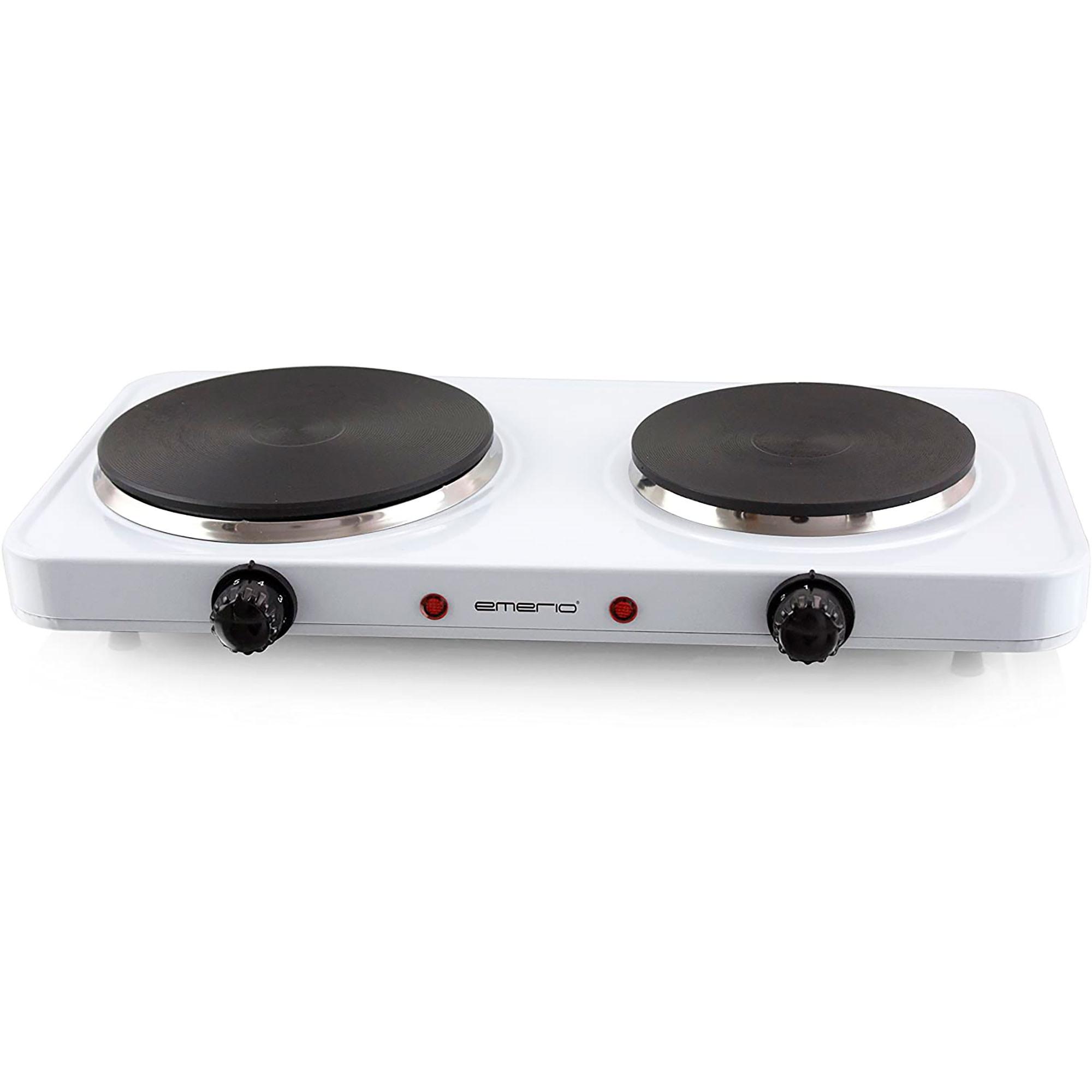 EMERIO HP-HP109090.4 Hornillo eléctrico Doble, 2 Placas de Cocinado 18,5 CM y 15,5 CM, 1500 W Y 1000 W, Regulador de Temperatura, Blanco