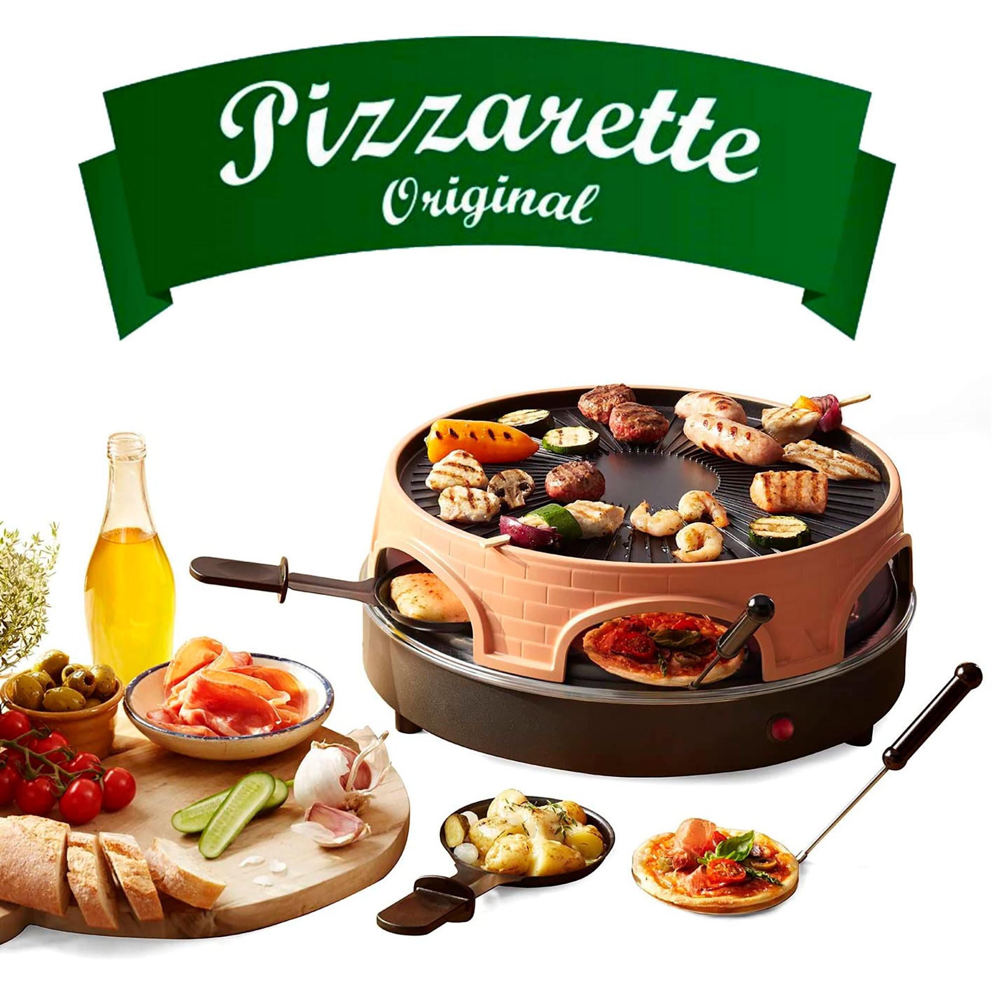 Emerio PO-113255.4 Horno para Pizzas Eléctrico + Raclette + Grill con Cubierta Piedra Terracota, 6 comensales, 1500W