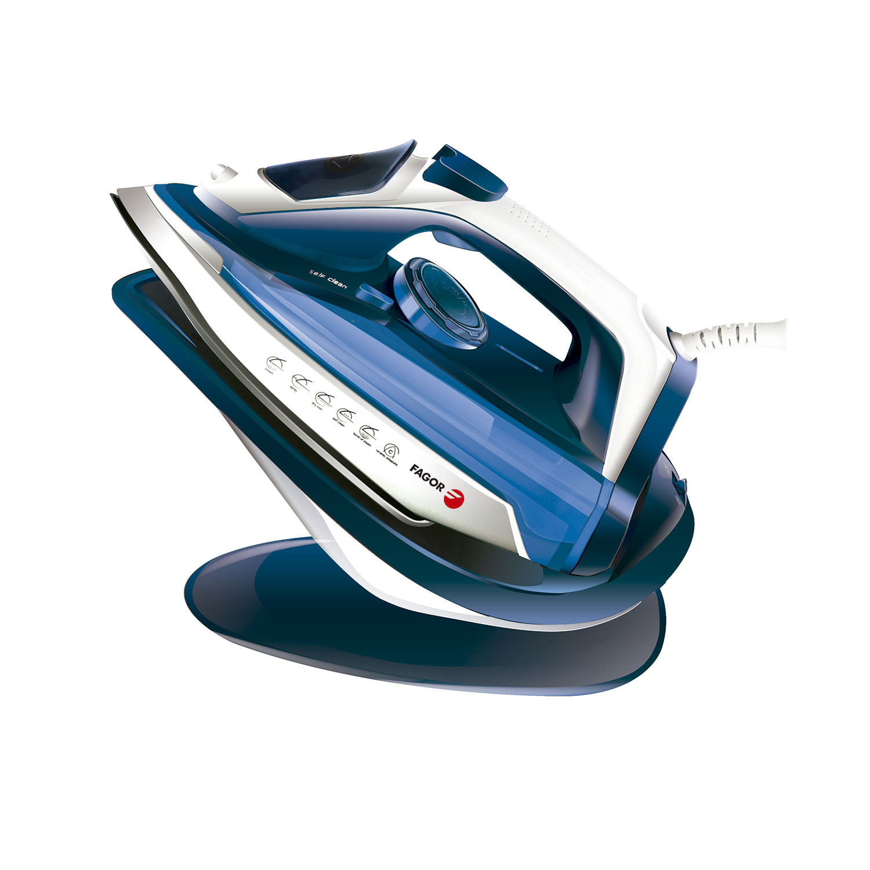 Fagor FG202 Plancha Vapor Inalámbrica, Suela Cerámica y Punta Precisión, Planchado vertical, golpe vapor, 2600 W, Azul