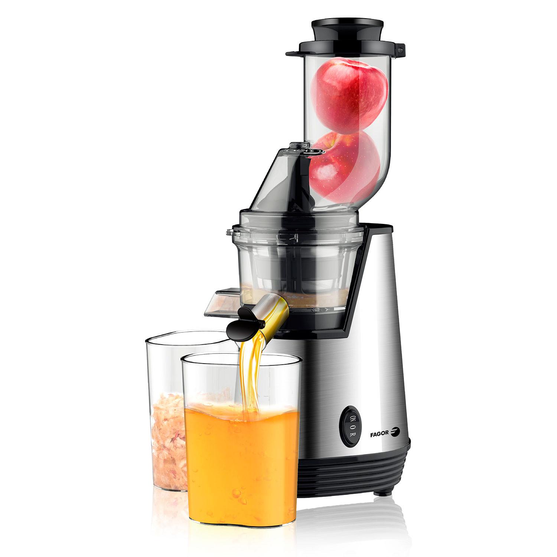 Fagor FG478 Licuadora Extractor de Zumos de Prensado Frío, Para Verduras y Frutas, Acero Inox - Velocidad 70 Rpm, Slow Juicer, Función Inversa