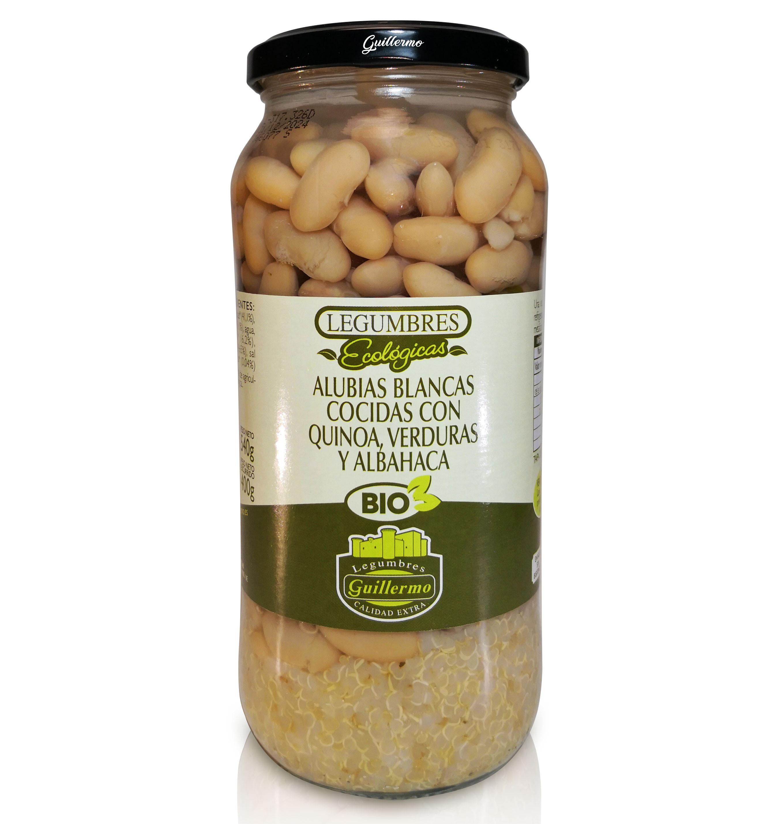 Guillermo Alubias Blancas Cocidas con Quinoa, Verduras y Albahaca Ecológicas BIO Judías Calidad Extra Conserva Tarro 540gr