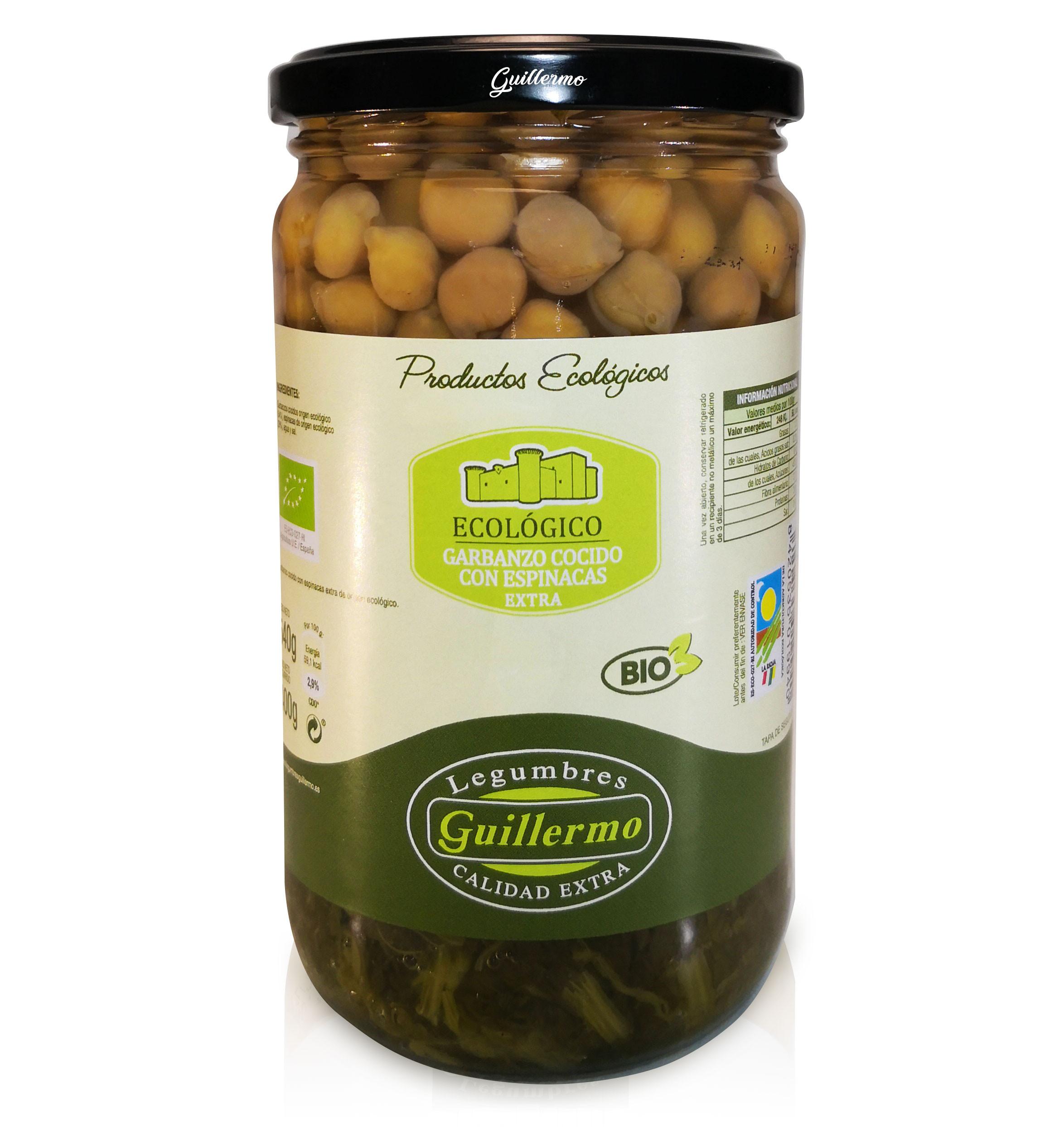 Guillermo Garbanzos Cocidos con Alga Kombu y Verduras Ecológicos BIO Categoría Extra Conserva Tarro 540gr