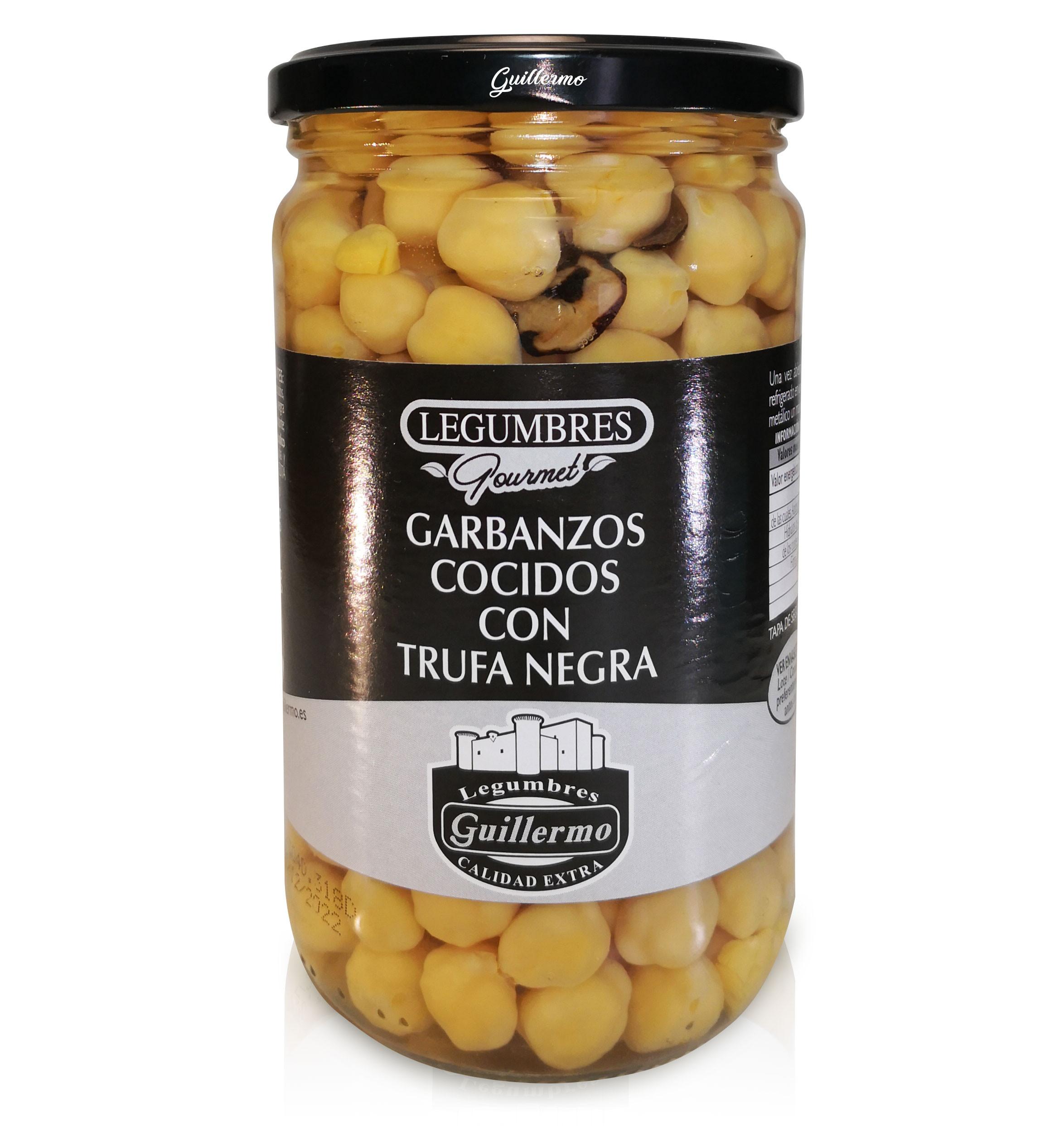 Guillermo Garbanzos Cocidos con Trufa Negra Gourmet Calidad Extra Conserva Tarro 540gr