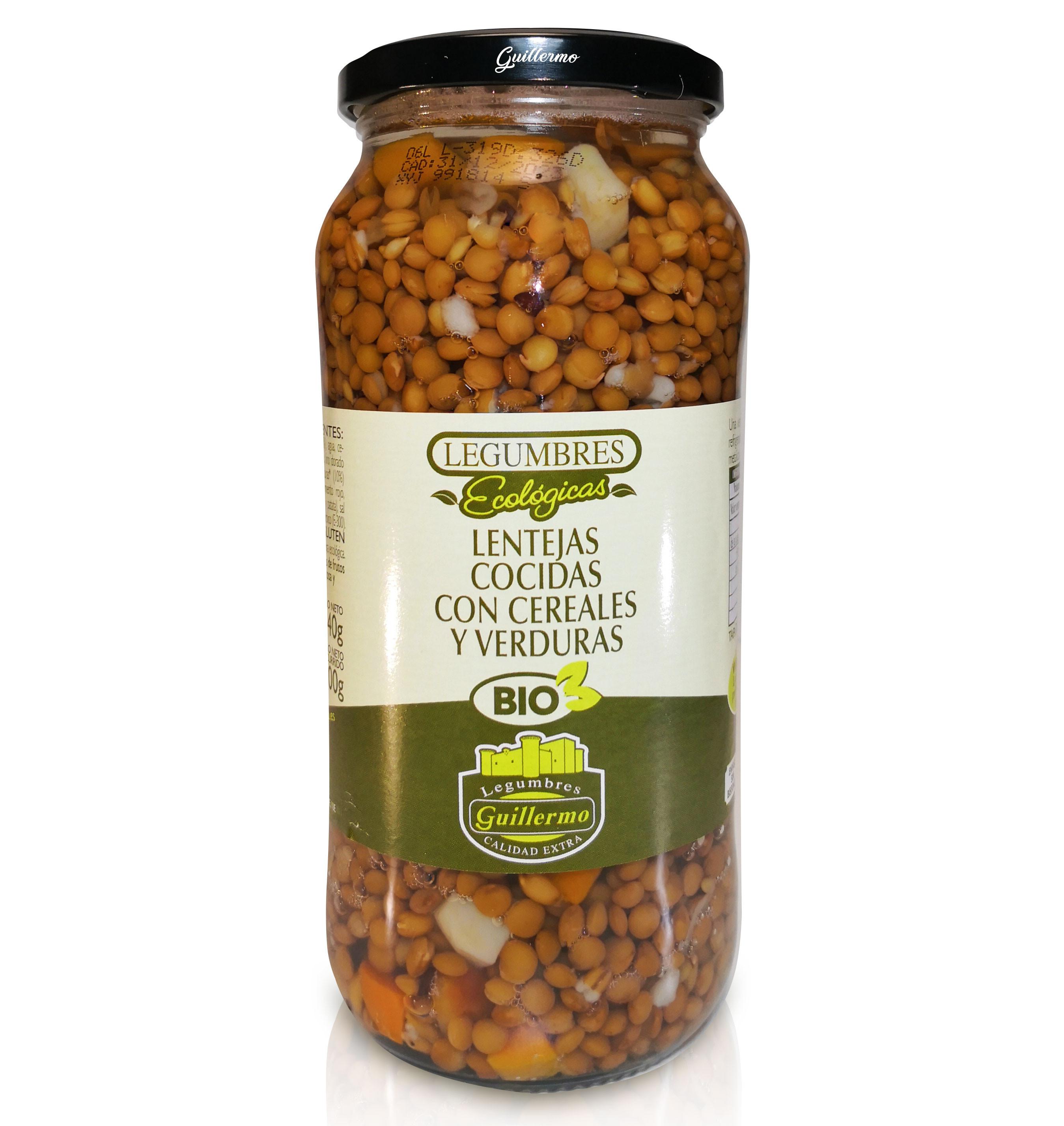 Guillermo Lentejas Cocidas con Cereales y Verduras Ecológicas BIO Categoría Extra Conserva Tarro 540gr