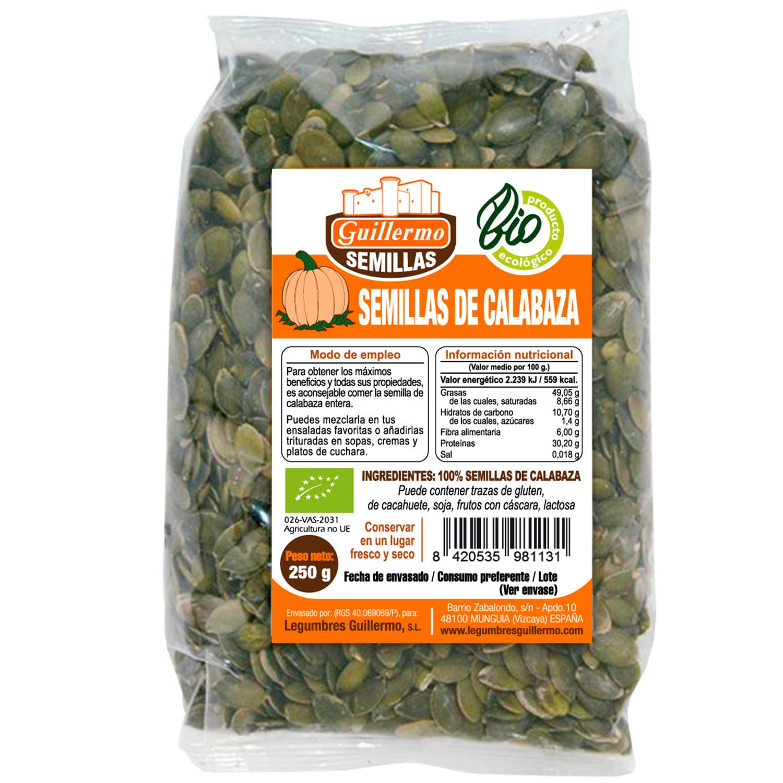 Guillermo Semillas de Calabaza Ecológica BIO Superalimento 100% Natural 250g
