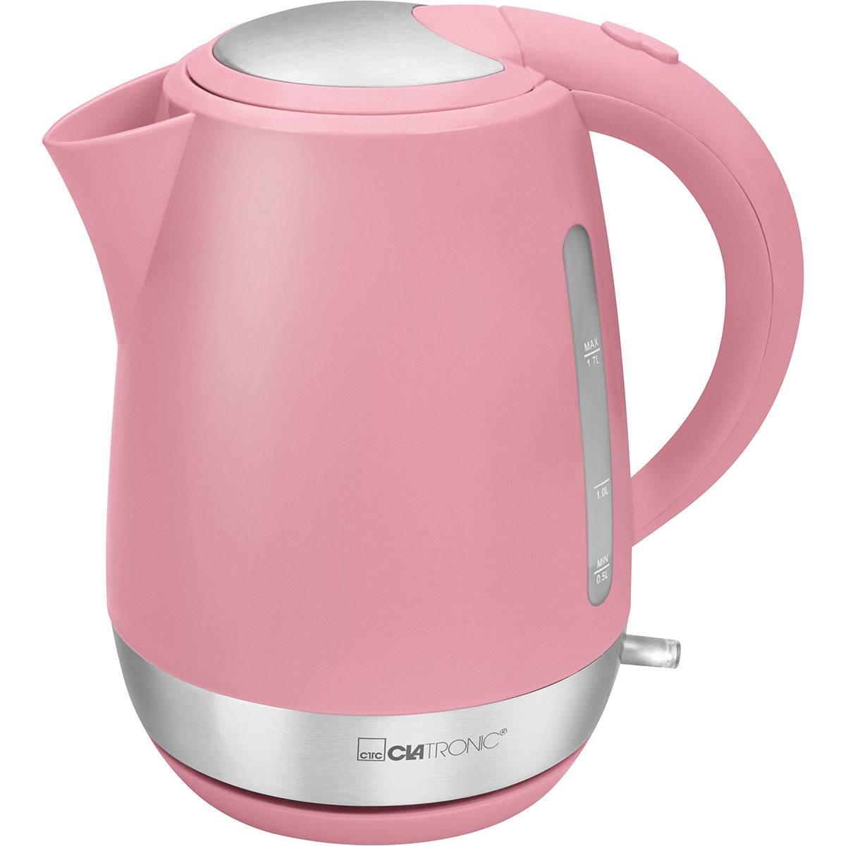 Clatronic WK 3691 - Hervidor de agua eléctrico, capaciadad 1,7 litros serie Rock & Retro estilo vintage rosa