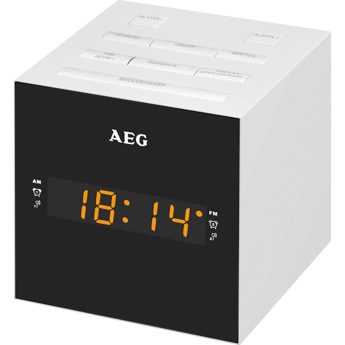 AEG Radio Despertador con USB para carga de móvil MRC 4150 blanco