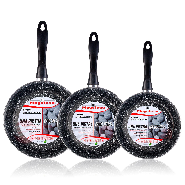 Magefesa K2 Gransasso - Set Juego 3 Sartenes 18-20-24 cm acero vitrificado , inducción, antiadherente PIEDRA libre de PFOA, apta lavavajillas, fondo termodifudor aptas para todas las cocinas
