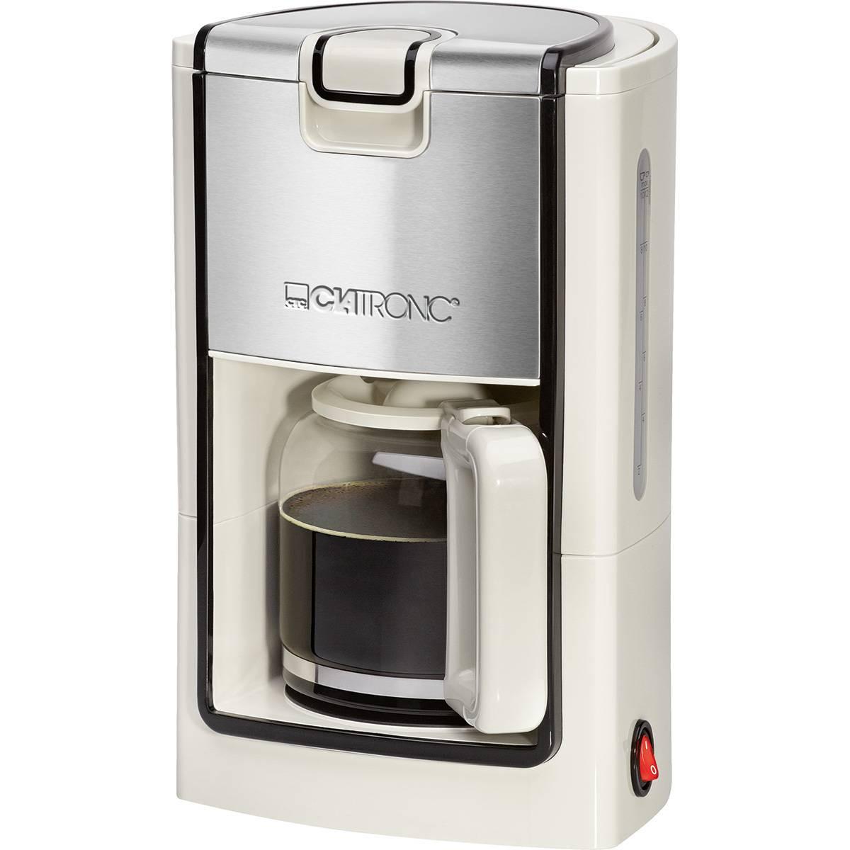 Clatronic KA 3558 - Cafetera eléctrica de goteo, capacidad de 8 a 10 tazas, 1,2 l, 900 W, color crema y plata