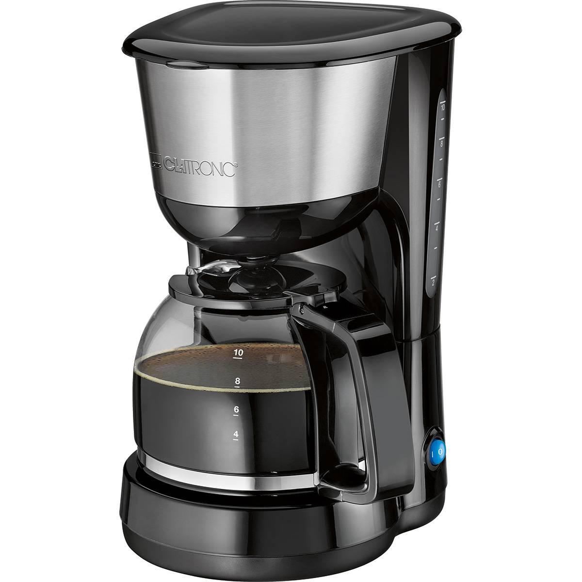 Clatronic KA 3575 - Cafetera de goteo, capacidad de 8 a 10 tazas, 1,25 l, 1000 W, color negro y plata