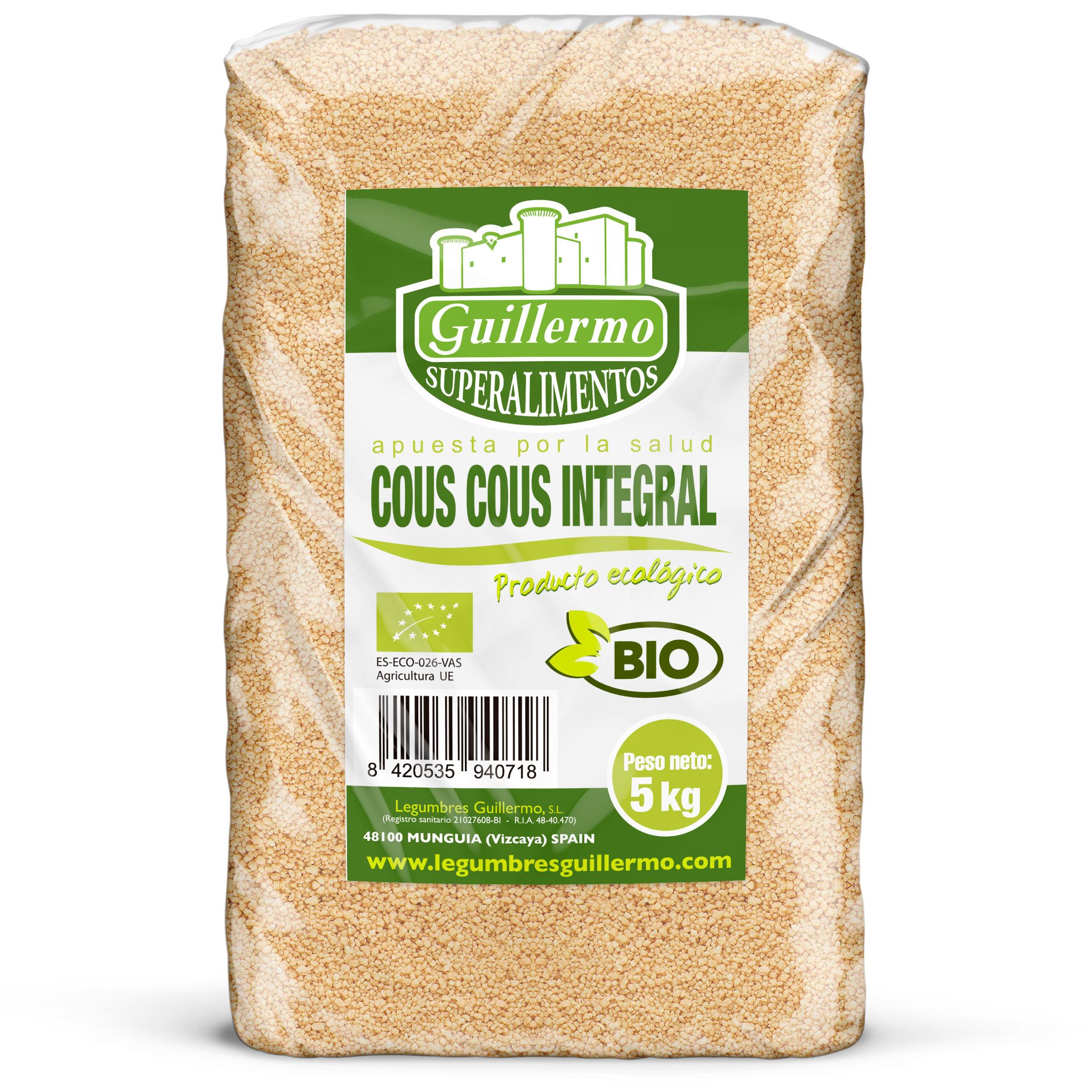 Guillermo Horeca Cuscus Integral Trigo Blanco Cous Cous Ecológico BIO Granel 100% Natural 5kg