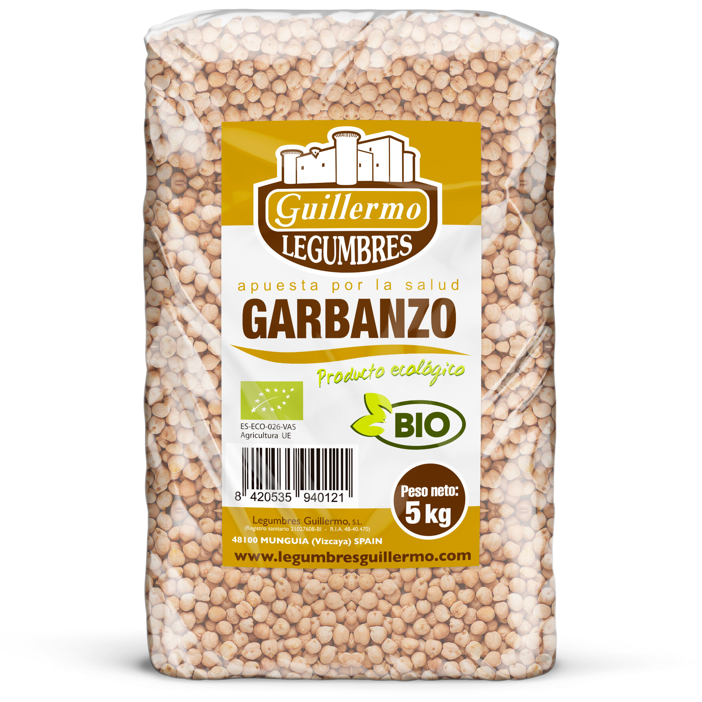 Guillermo Horeca Garbanzo Gordo Ecológico BIO Granel Calidad Extra 5kg