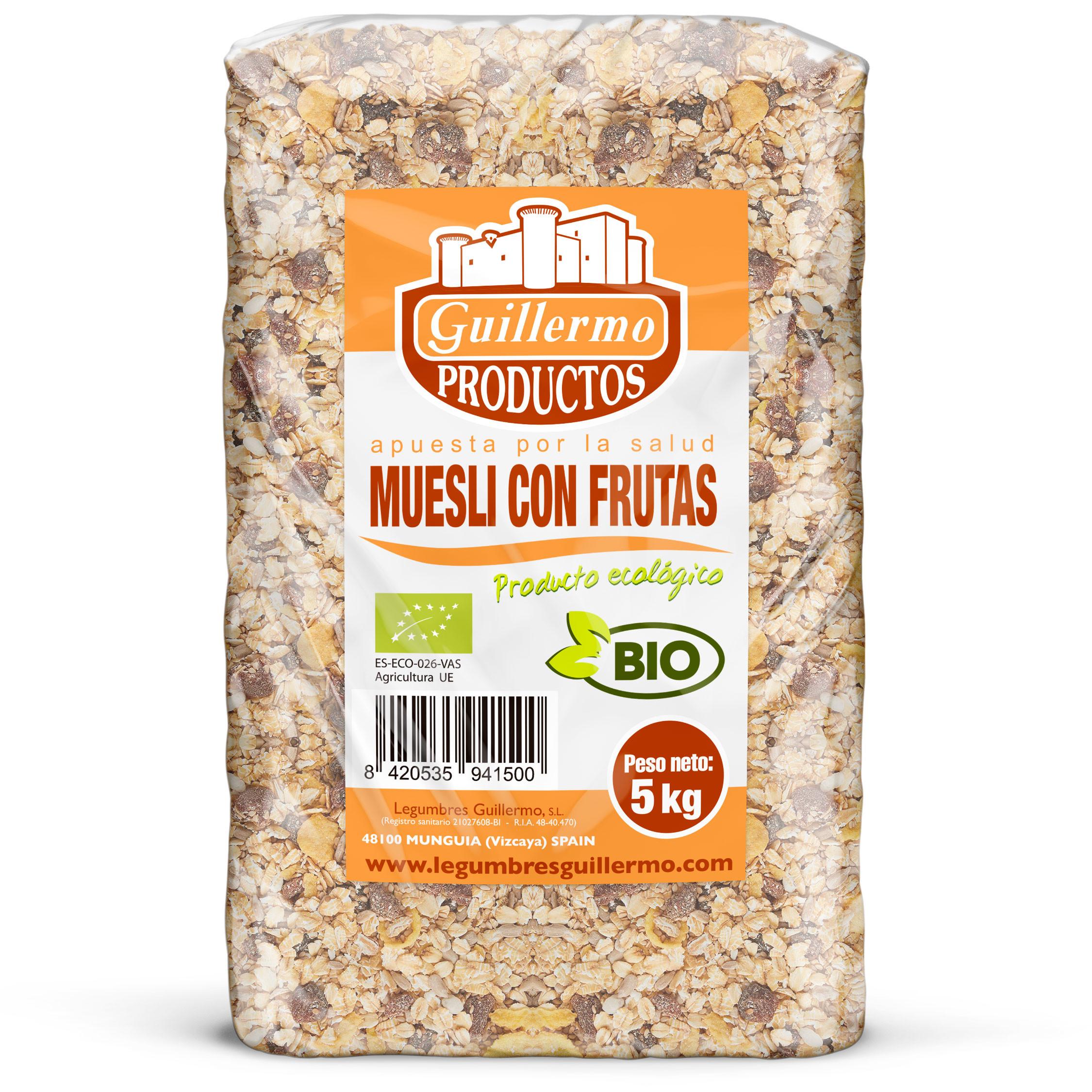 Guillermo Horeca Mueslis con Frutas Ecológicos BIO Granel Superalimento 100% Natural 5kg
