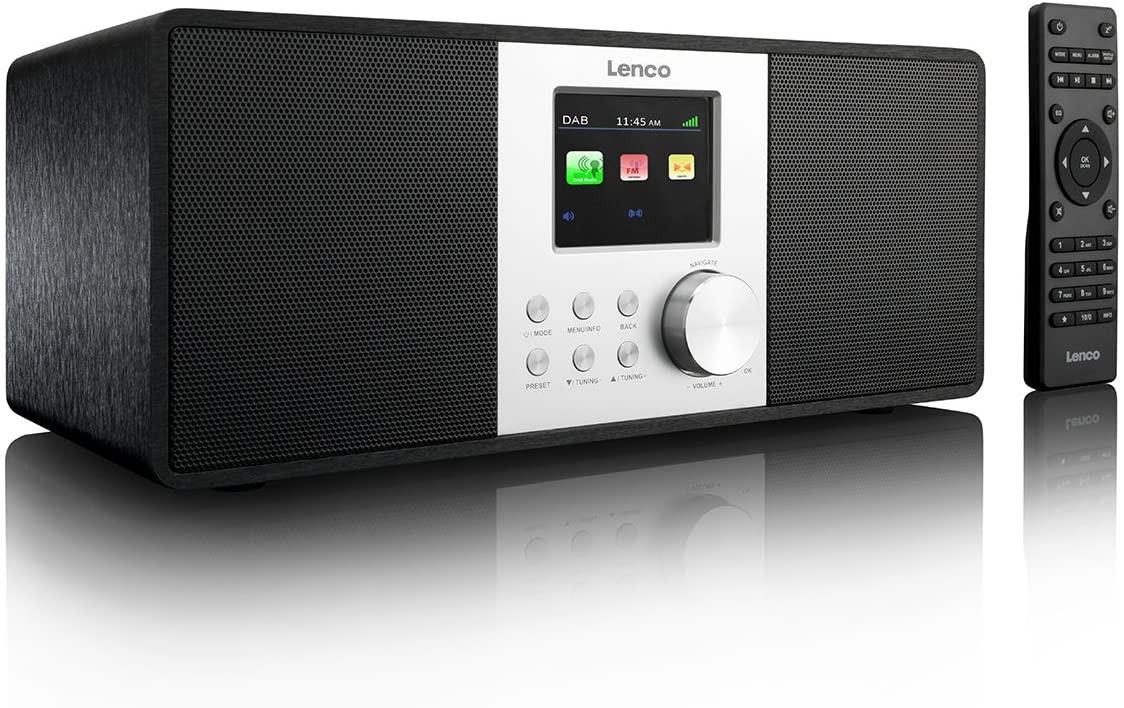 Lenco DIR200 Radio Internet Wifi, DAB+, FM, Conexión USB y AUX, Mando a Distancia, Pantalla TFT Color, Compacta, Negro