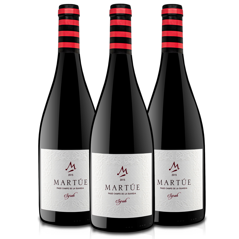 Martúe Syrah Vino Tinto Reserva D.O. Pago Campo de la Guardia - Lote Pack de 3 Botellas x 750 ml
