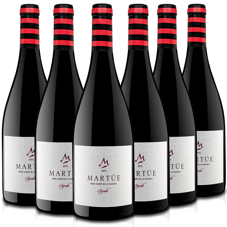 Martúe Syrah Vino Tinto Reserva D.O. Pago Campo de la Guardia - Lote Pack de 6 Botellas x 750 ml