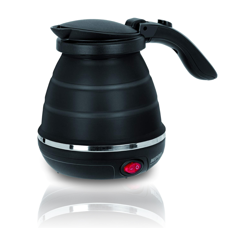 MPM MCZ-73/C Hervidor de Agua Eléctrico Plegable, Resistencia Ociulta, Tapa automática, Silicona, 0,5 Litros, 750W, Libre de BPA, Negro