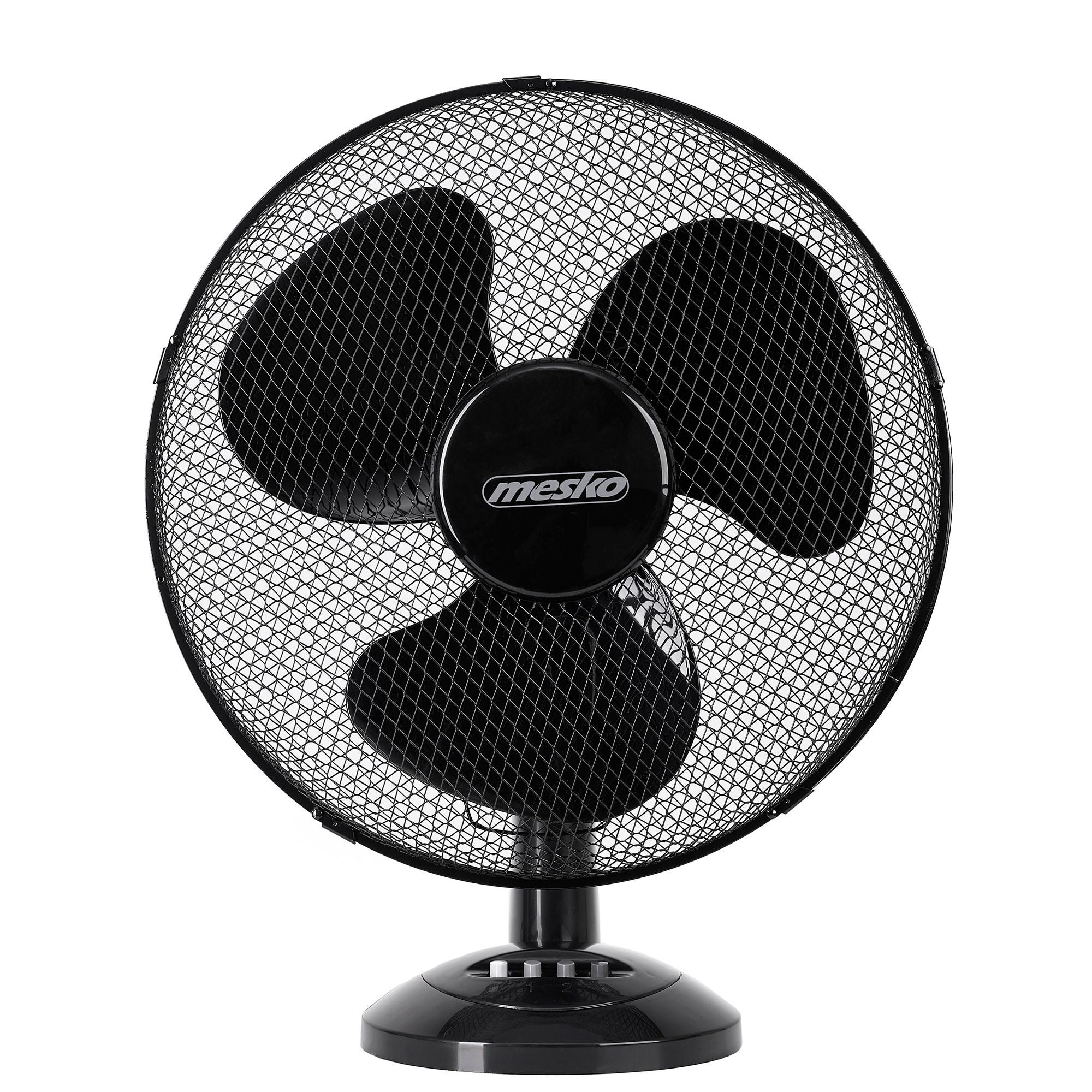 Mesko MS 7308 - Ventilador portátil de sobremesa oscilante, 2 velocidades, 23cm, negro, 45W