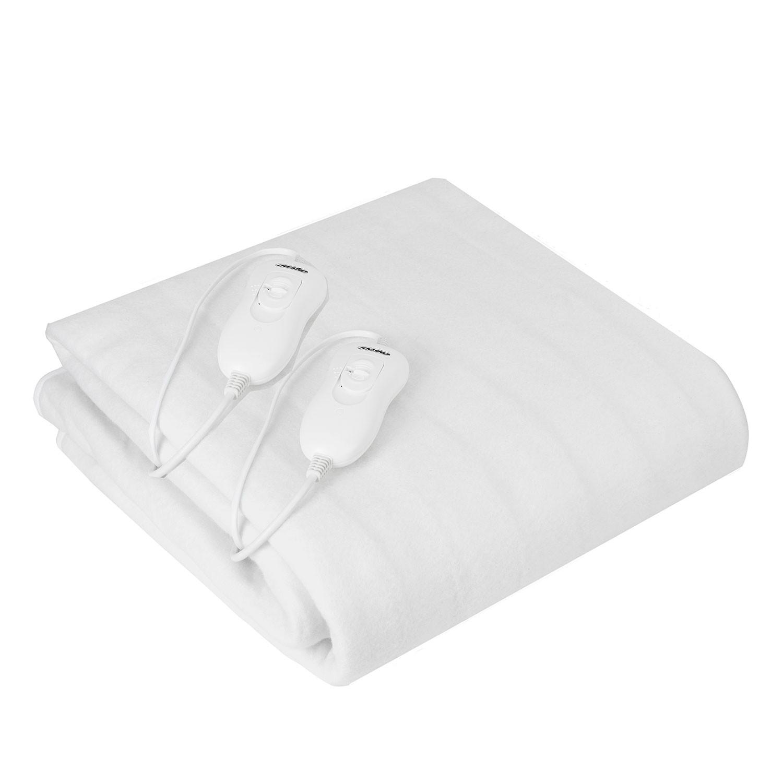 Mesko MS7420 Calienta Camas Eléctrico Doble 150 x 160 cm cama matrimonio 3 Niveles Temperatura, Temporizador, Lavable, Forro Polar Blanco, 120W
