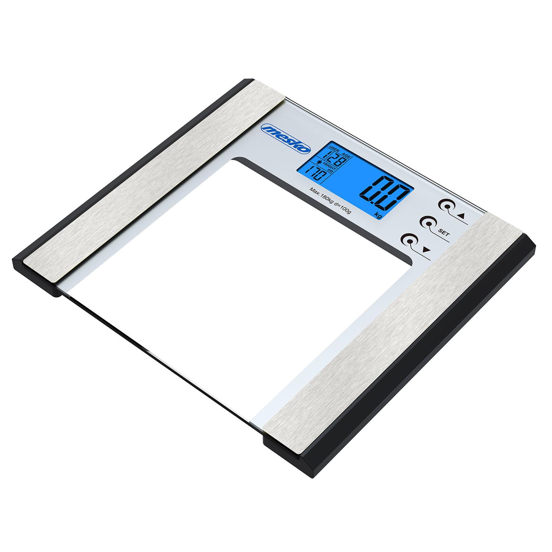 Mesko MS8146 Báscula de baño Digital Grasa corporal, Adecuado para Peso Óseo y Muscular IMC Agua Calorías, Cristal y acero inoxidable, hasta 180KG