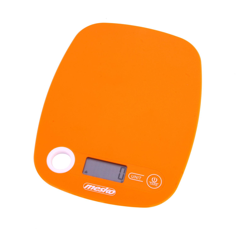 Mesko MS3159O Báscula de Cocina Digital, Alta Precisión Pasos 1g Pesa Alimentos hasta 5Kg, Display LCD, Función Tara, Multifunción, Naranja