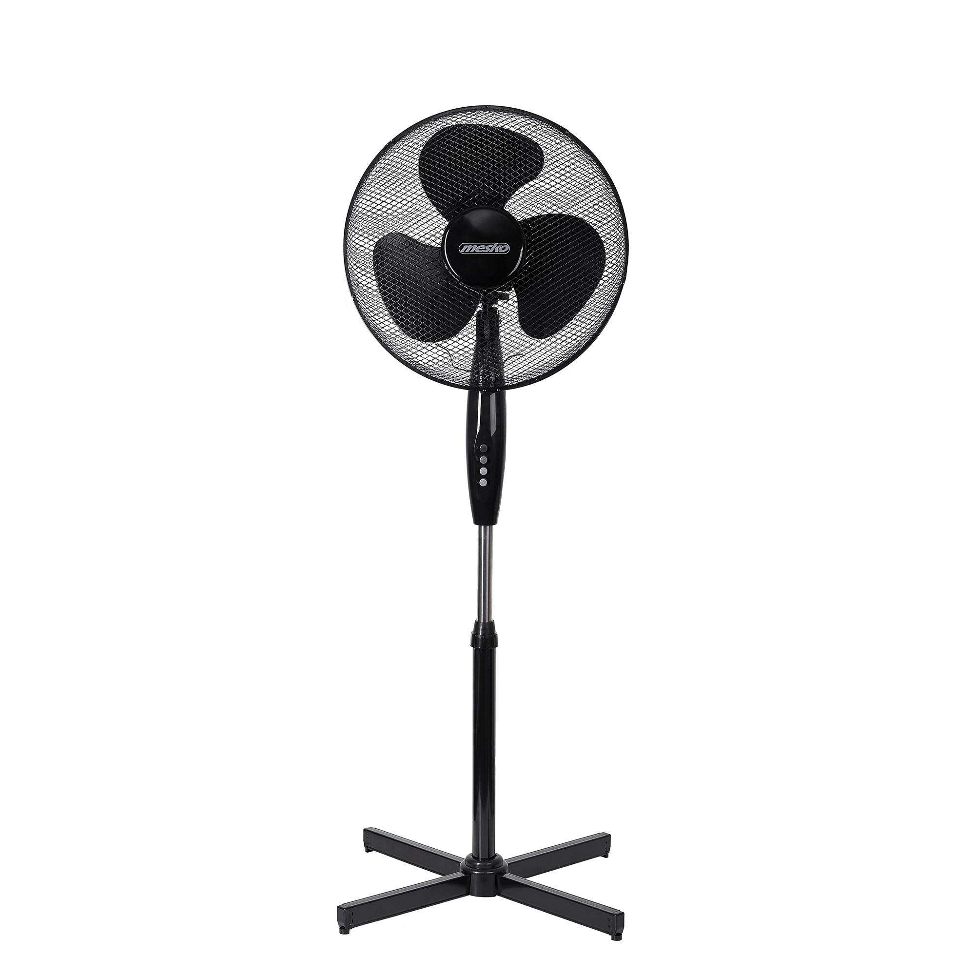 Mesko MS7311 Ventilador de pie oscilante, Reclinable 40 cm, Altura Ajustable, 3 velocidades, Negro, 90W
