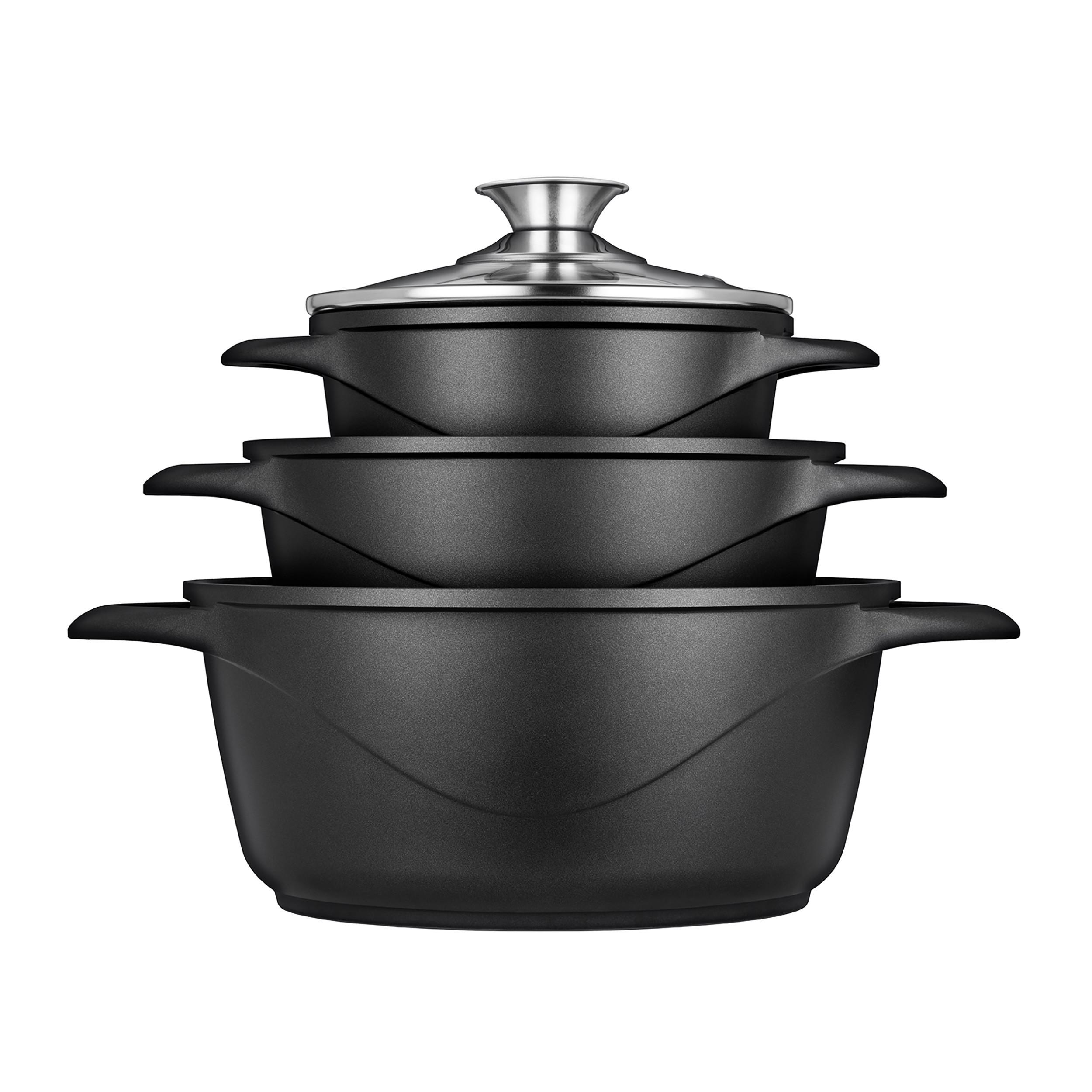 SMILE MGK18 - Batería de Cocina Inducción 6 piezas Aluminio Fundido, 3 ollas, Tapas de Vidrio Templado, Revestimiento Antiadherente, Apta Para Todo tTpo de Cocinas, Libre PFOA