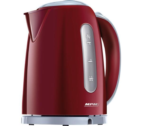 MPM MCZ-85/B2 Hervidor de Agua Eléctrico Inalámbrico. 1,7 Litros, Base 360º, Filtro Anti Cal Desmontable, 2200W, Rojo