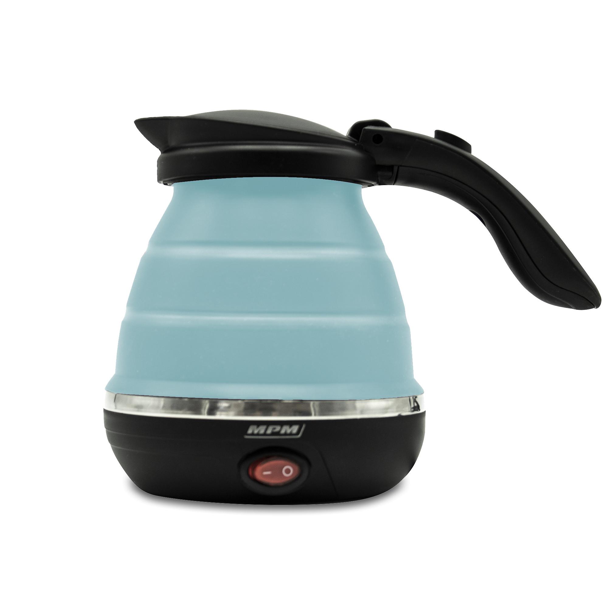 MPM MCZ-73/N Hervidor de Agua Eléctrico Plegable, Resistencia Ociulta, Tapa automática, Silicona, 0,5 Litros, 750W, Libre de BPA, Azul