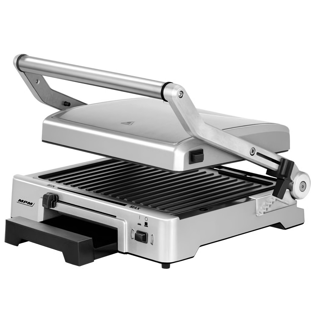 MPM MGR-10M Plancha Grill de asar doble tapa basculante adaptable en altura, planchas antiadherentes, acero inox, regulador temperatura, 2000W