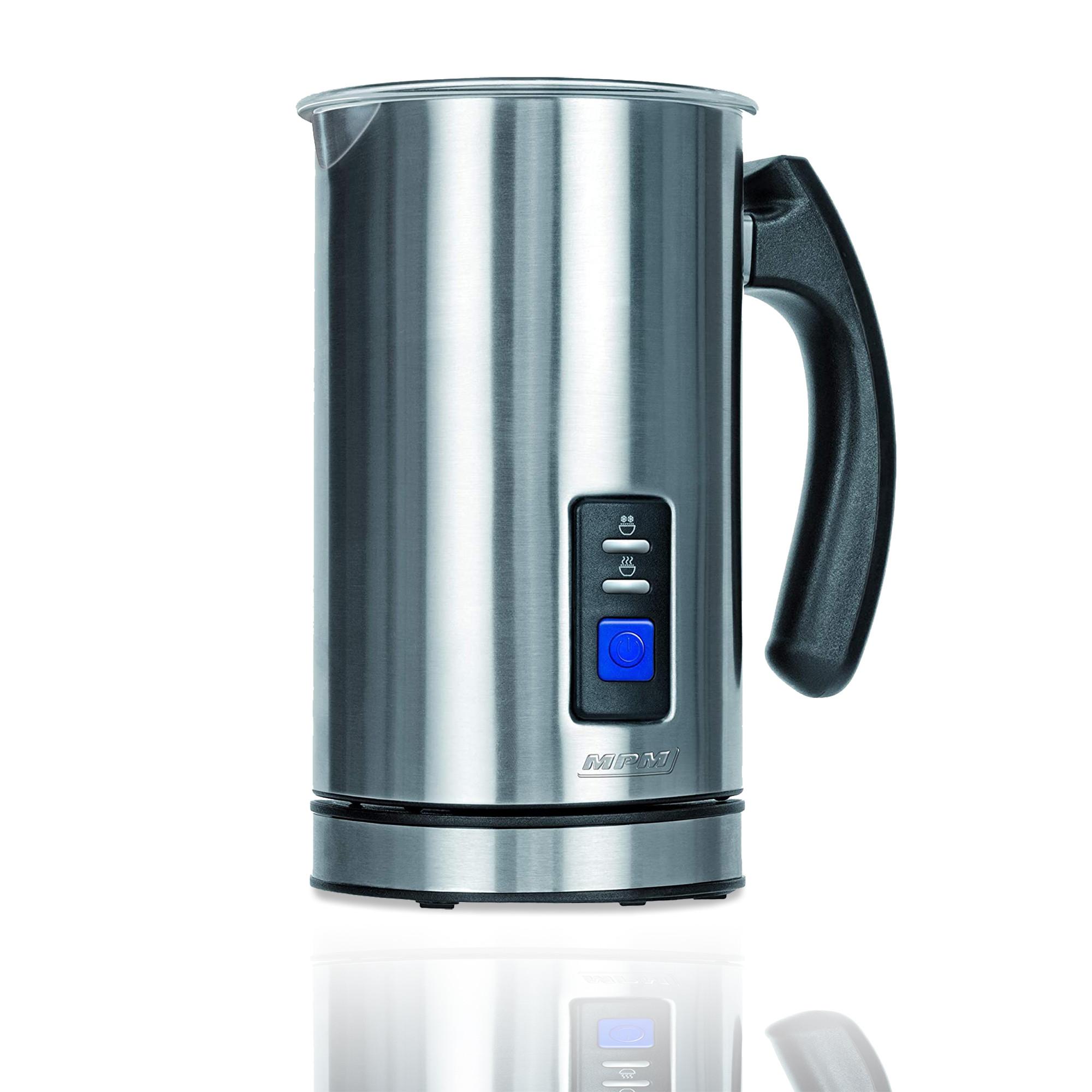 MPM MKW-03M Espumador de Leche Automático Batidor de leche Eléctrico 500W Vaporizador y Calentador Leche 500 ml Hace Espuma en Caliente/Frío, Tapa Transparente, Acero Inoxidable