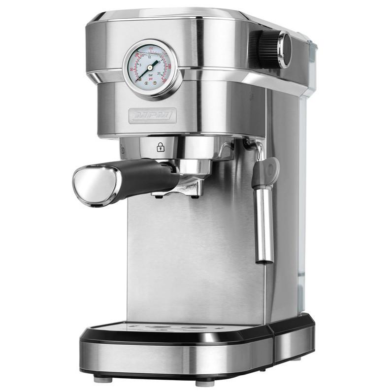 MPM MKW-08M Cafetera express 20 bares, para realizar café espresso y cappuccino, vaporizador para espumar leche, calienta tazas ,acabado acero inoxidable, depósito de agua 1,2 L desmontable