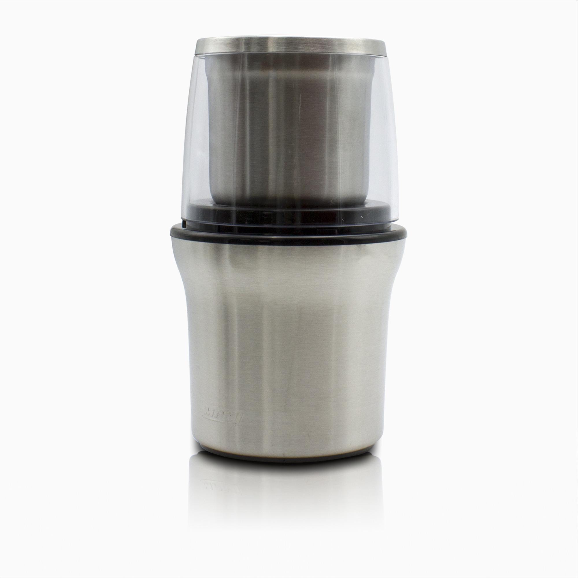 MPM MMK-06M Molinillo Café eléctrico pequeño + picadora multiusos, semillas especias y frutos secos, acero inox, 200W