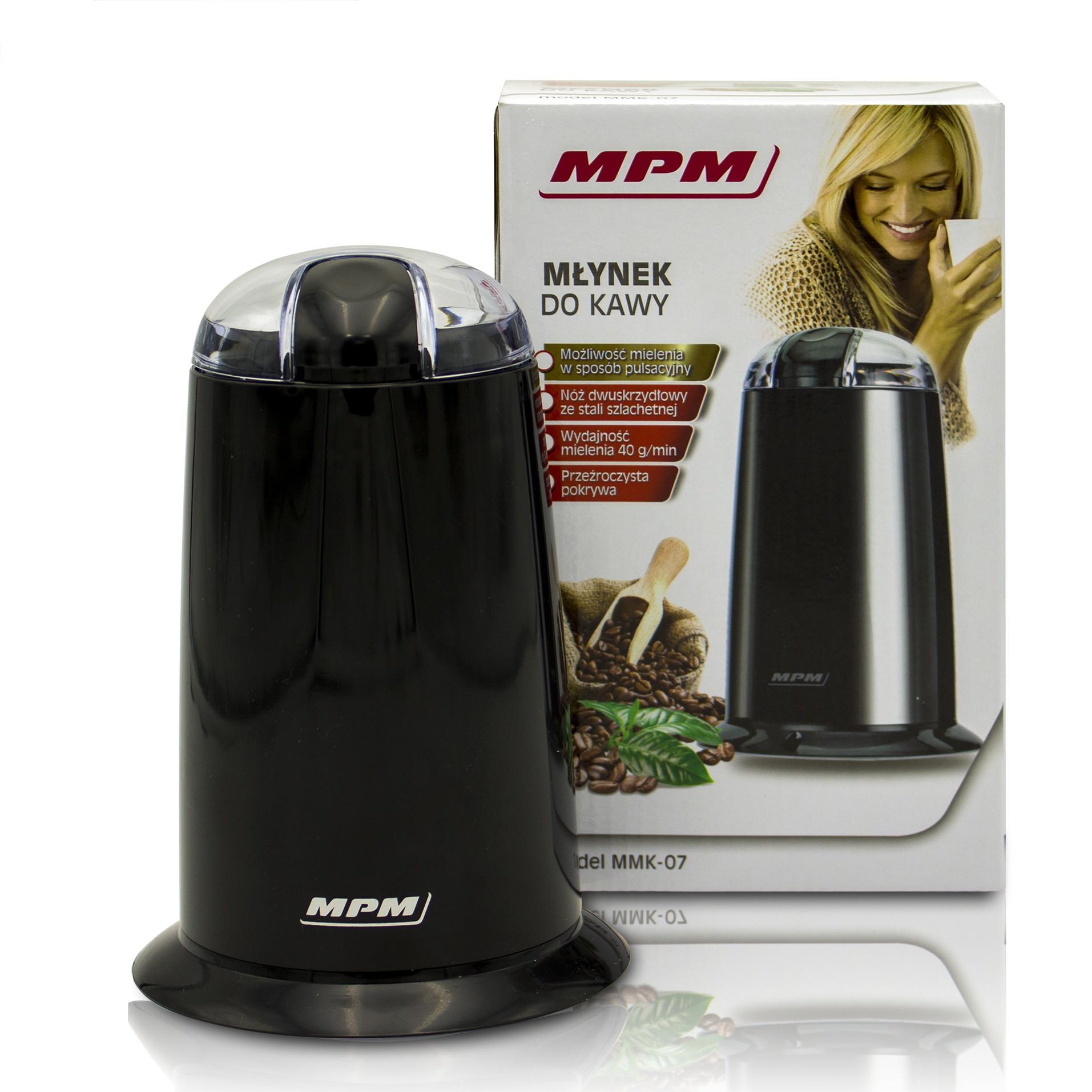 MPM MMK-07/C Molinillo café eléctrico pequeño, semillas especias y frutos secos, cuchilla doble acero inoxidable, 40g/min. capacidad 40g , 140W