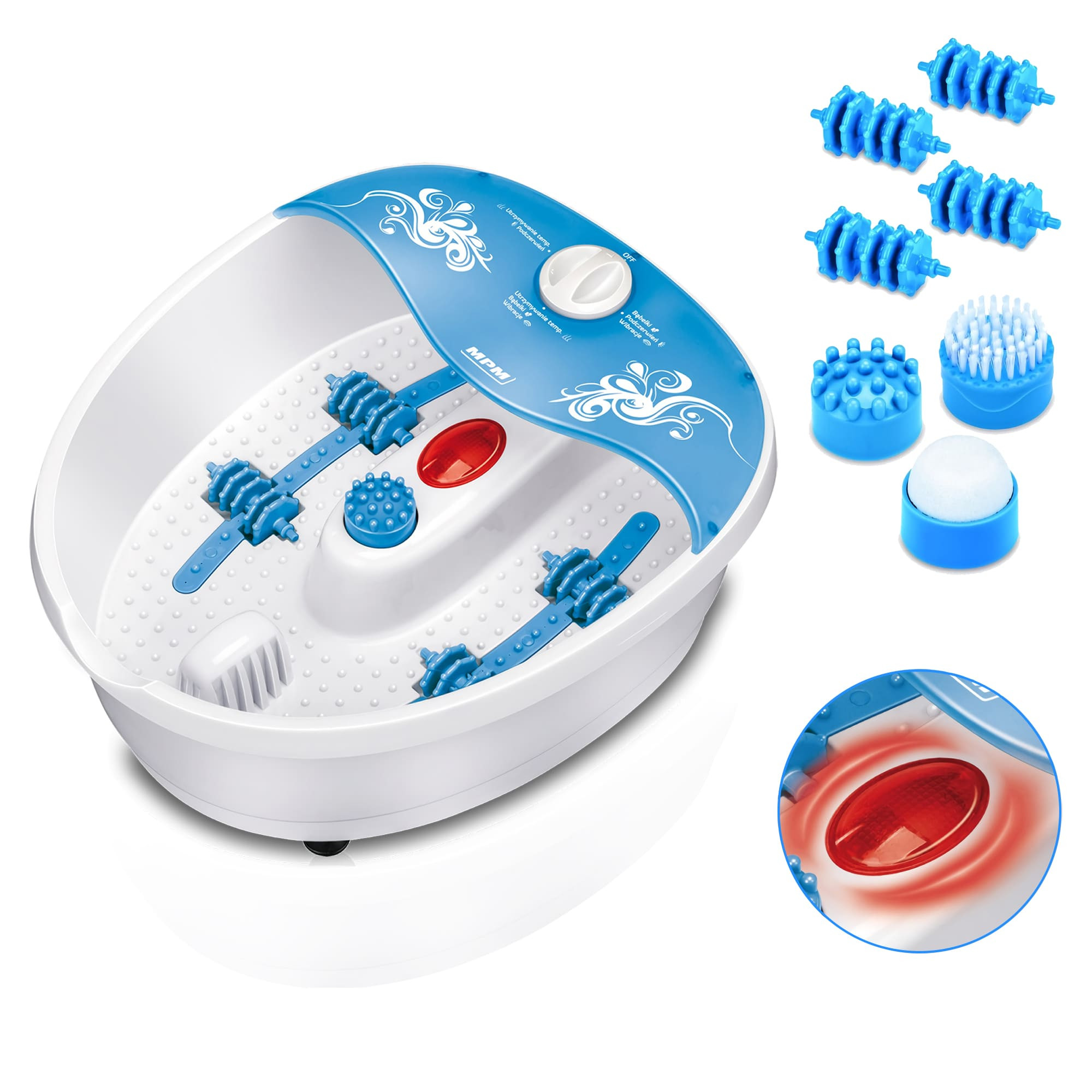 MPM MMS-01 Masajeador de Pies con Agua, masaje de Burbujas y por vibración,