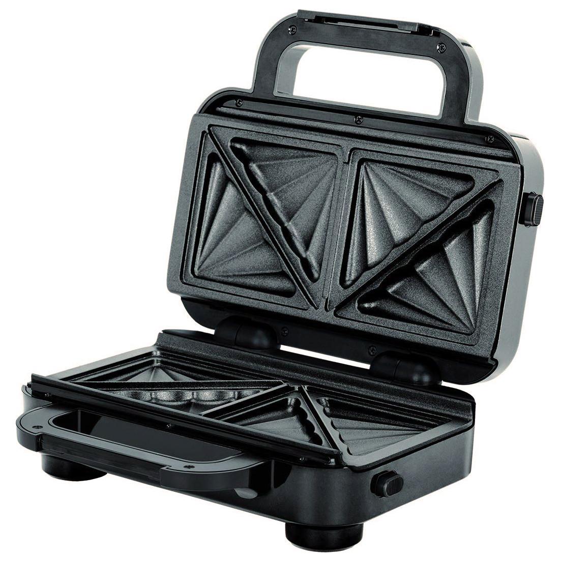 MPM MOP-18M Sandwichera eléctrica para 2 sandwiches, placas antiadherentes en forma de triángulo, acabado acero inoxidable, 850W