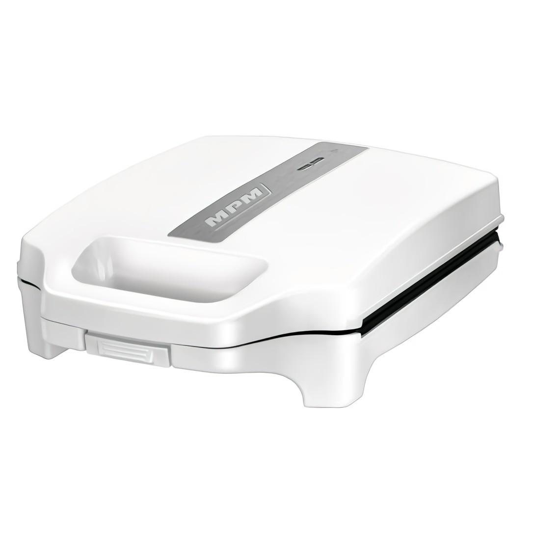 MPM MOP-35 Sandwichera eléctrica para 4 sandwiches, placas antiadherentes en forma de triángulo, blanca, 1600W