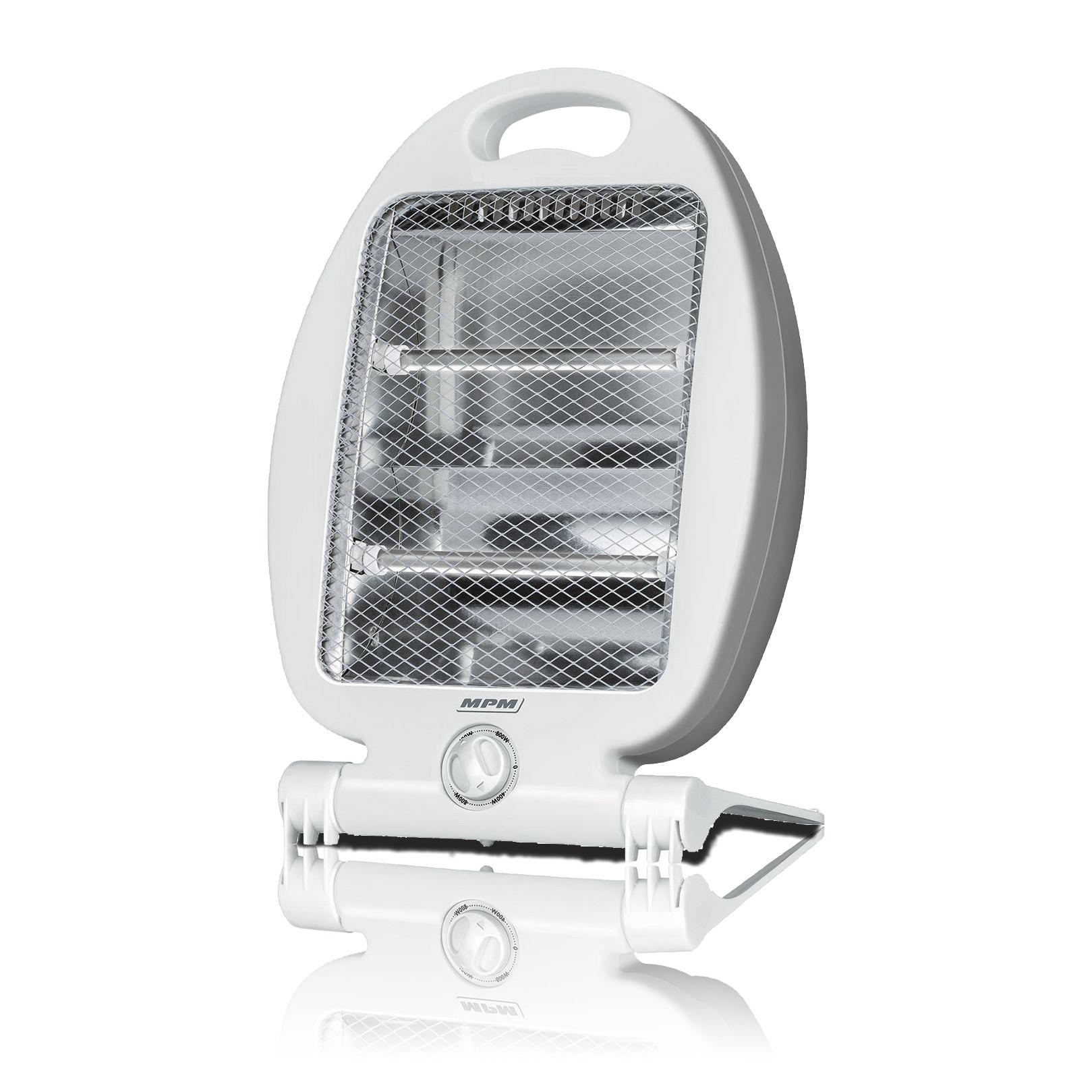 MPM MUG15 Estufa eléctrica de cuarzo portátil, radiador halógeno, 2 niveles temperatura, sistema seguridad, 400/800W