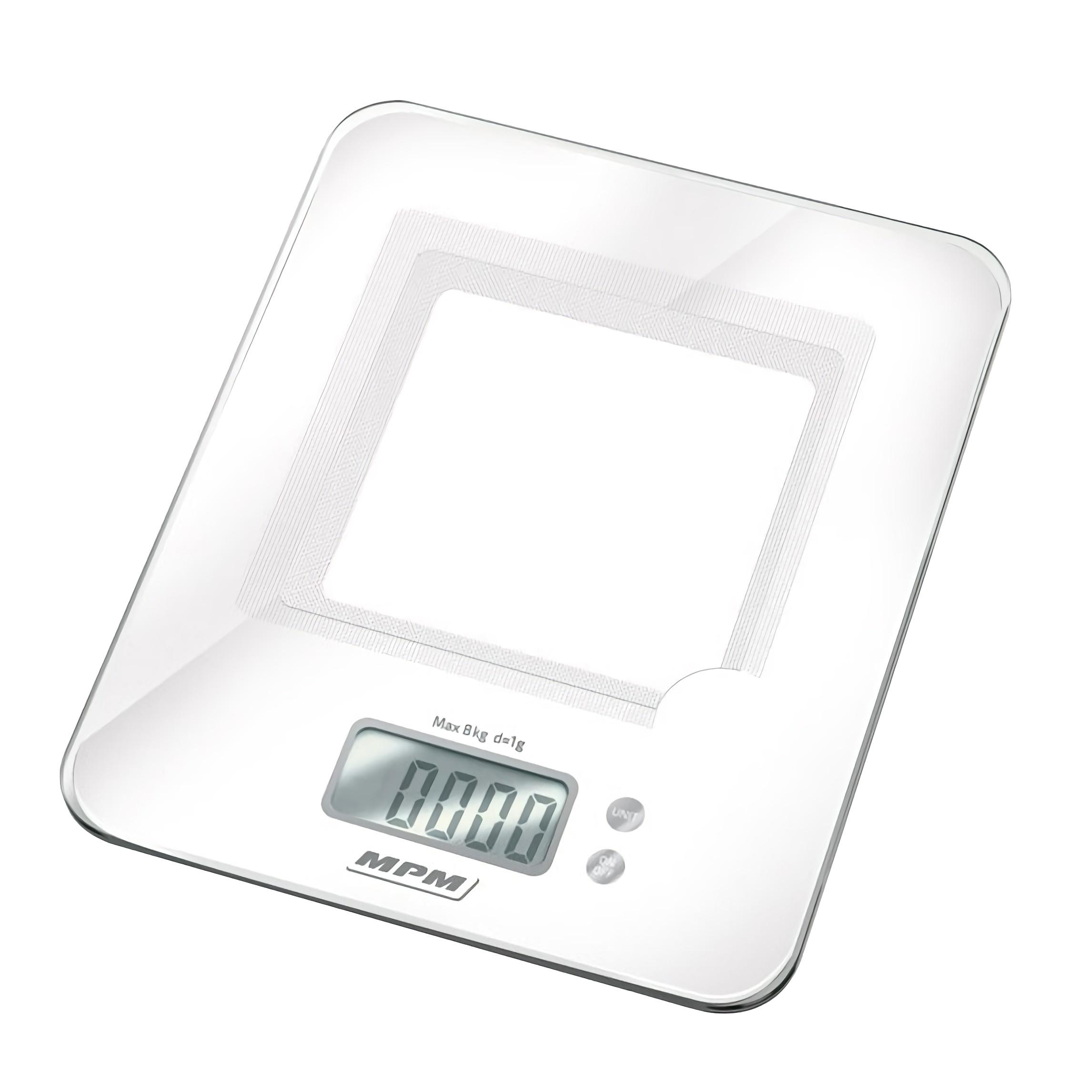 MPM MWK-03 Báscula de cocina digital, pesa alimentos hasta 8Kg, alta precisión pasos 1g , display LCD multifunción, función tara